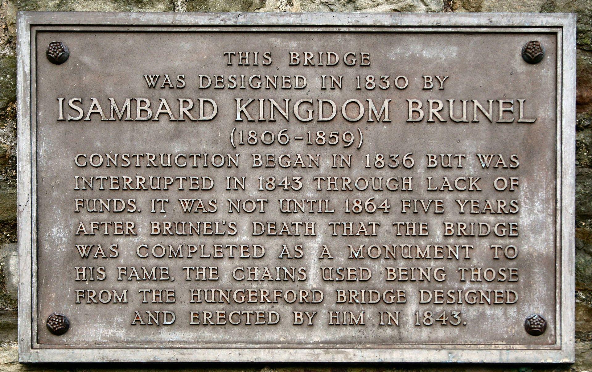 สะพานแขวนคลิฟตัน-ป้ายจารึก