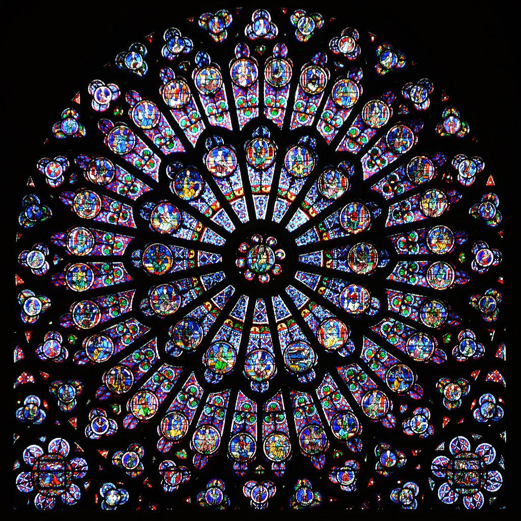 โบสถ์นอทเทอร์ดัม -กระจกสีทางด้านทิศเหนือ